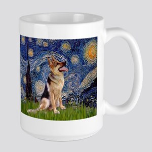 Starry Night & German Shepherd 1 Large Mug